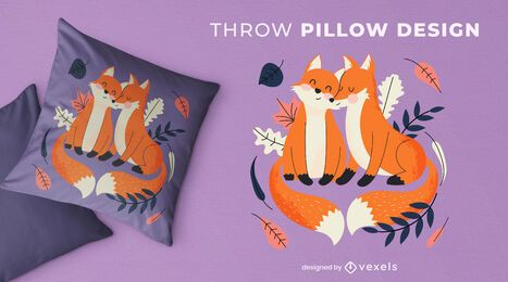 Cute foxes throw pillow design