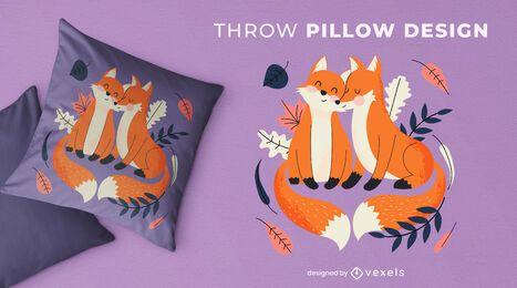 Desenho de almofada para raposas fofas