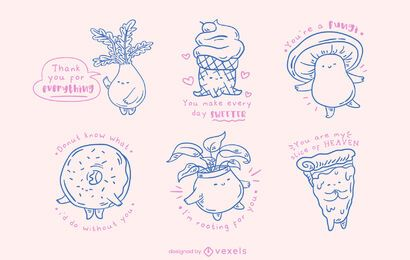 Kawaii misc objects doodle set
