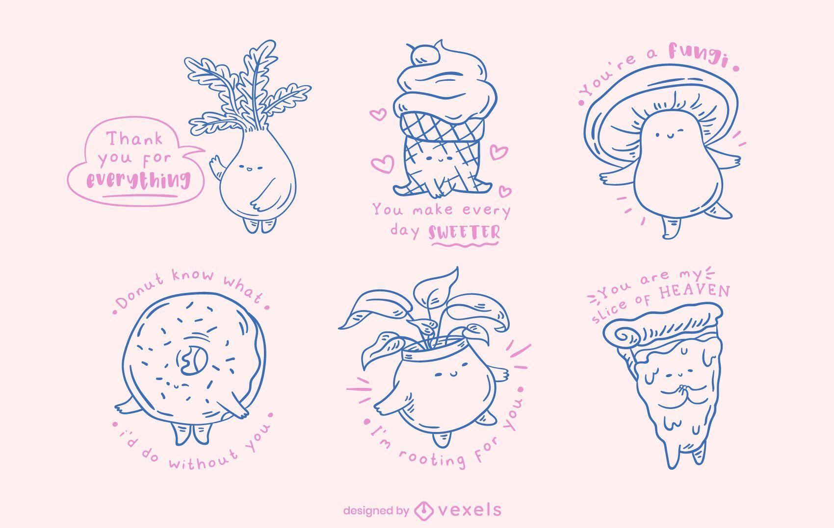 Conjunto de doodle de objetos misceláneos kawaii