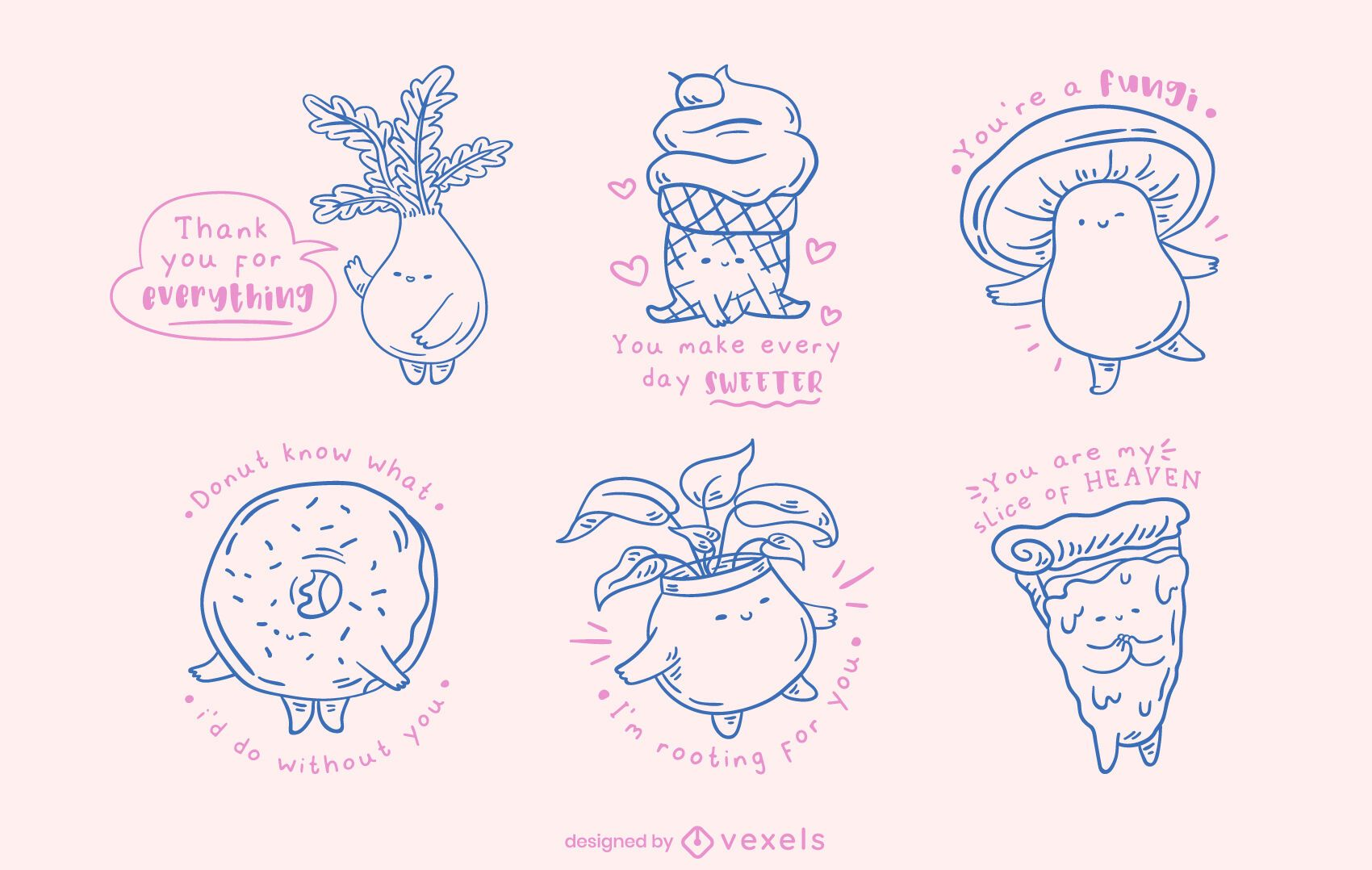 Kawaii misc objects doodle set