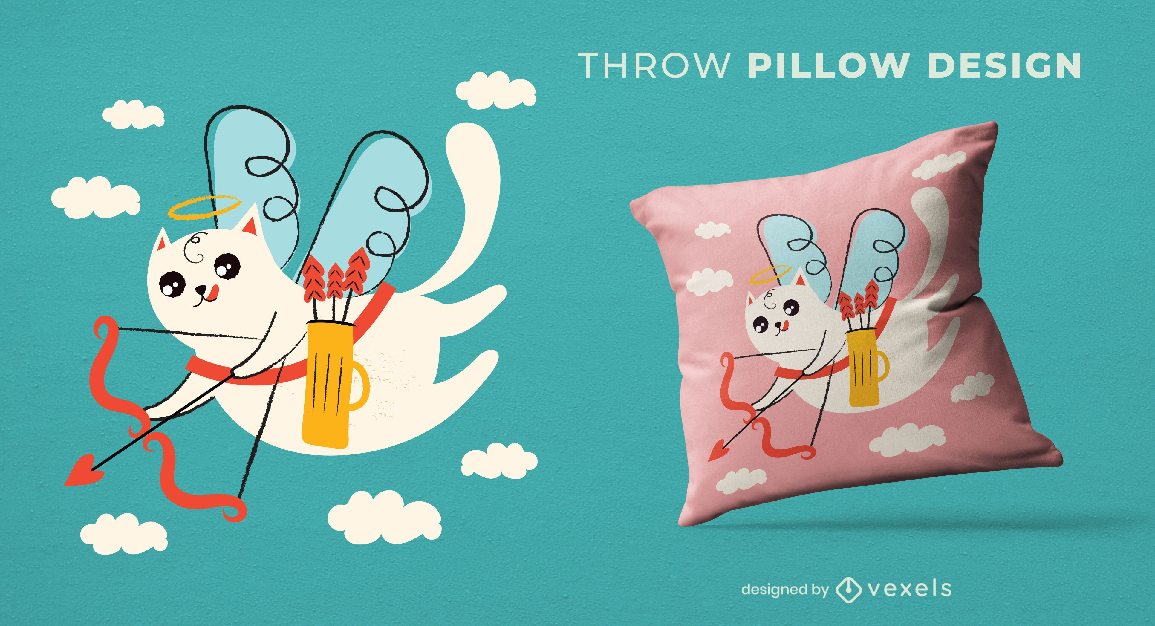 Valentine's day cat throw pillow design