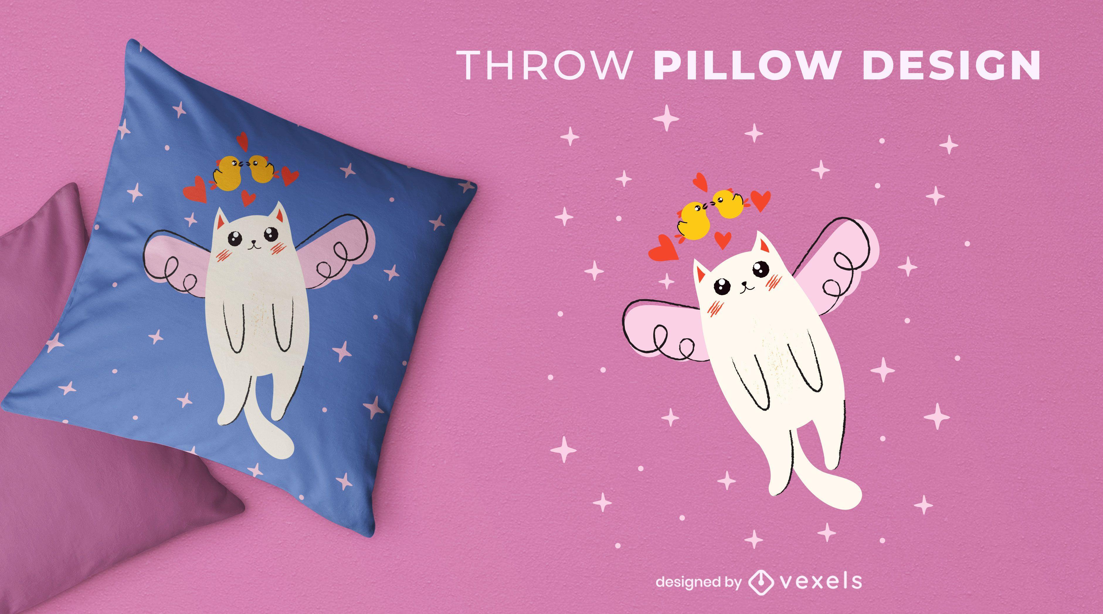 Cute flying cat throw pillow design