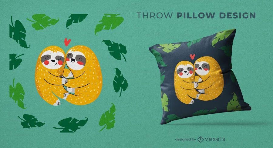 Perezosos que abrazan el diseño de la almohada