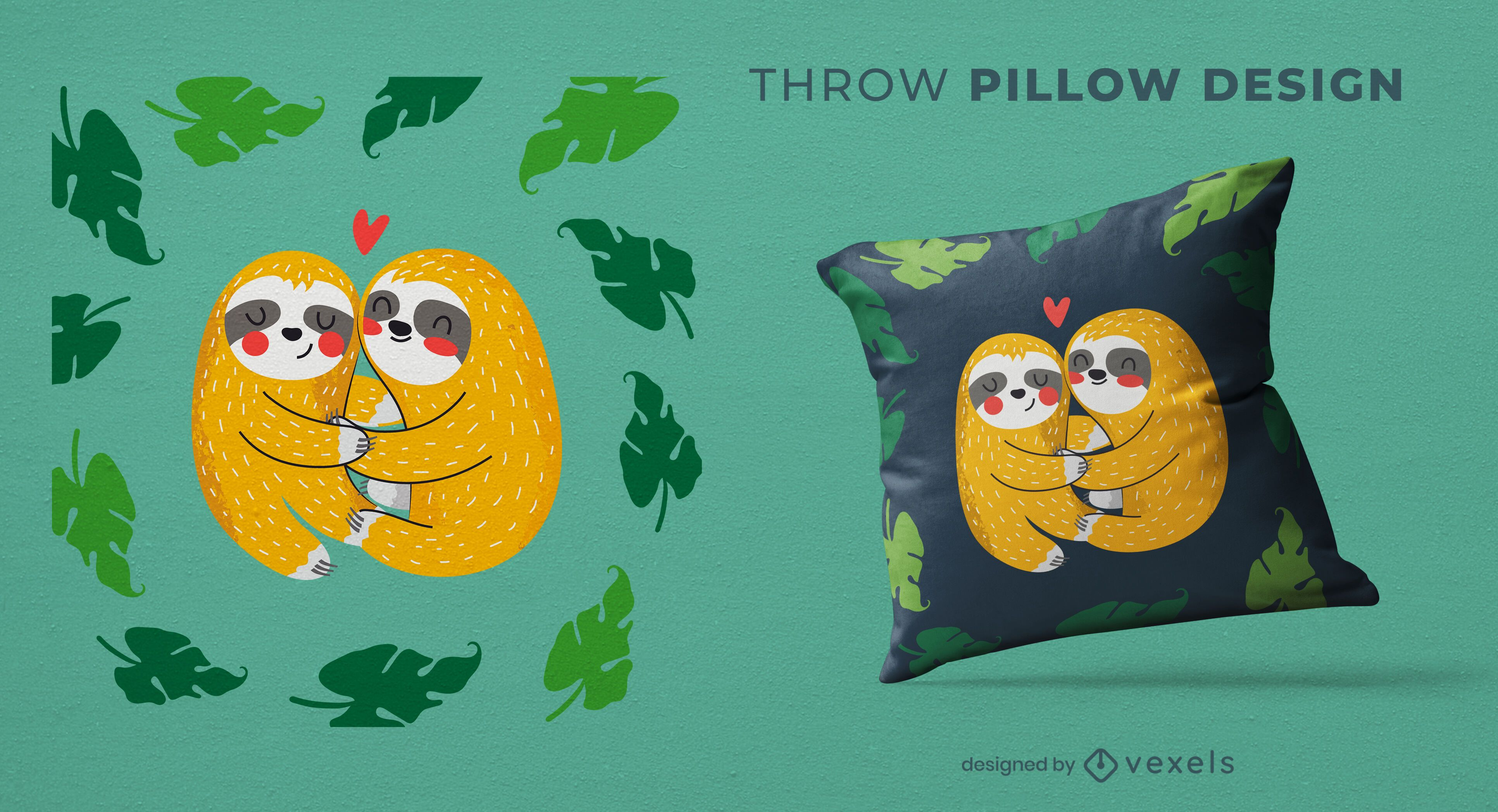 Sloths hugging throw pillow design