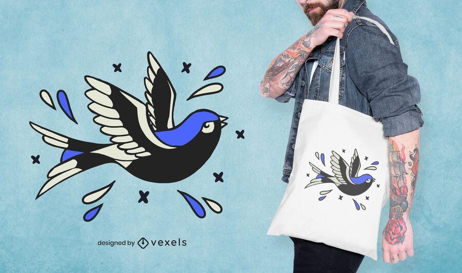 Bird tattoo tote bag design