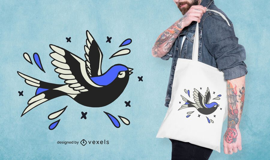Diseño de bolso de mano con tatuaje de pájaro
