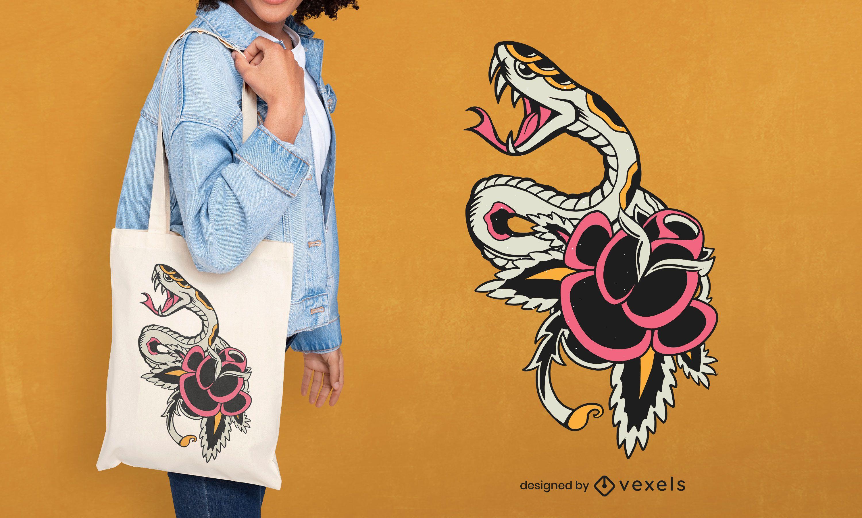 Snake tattoo tote bag design