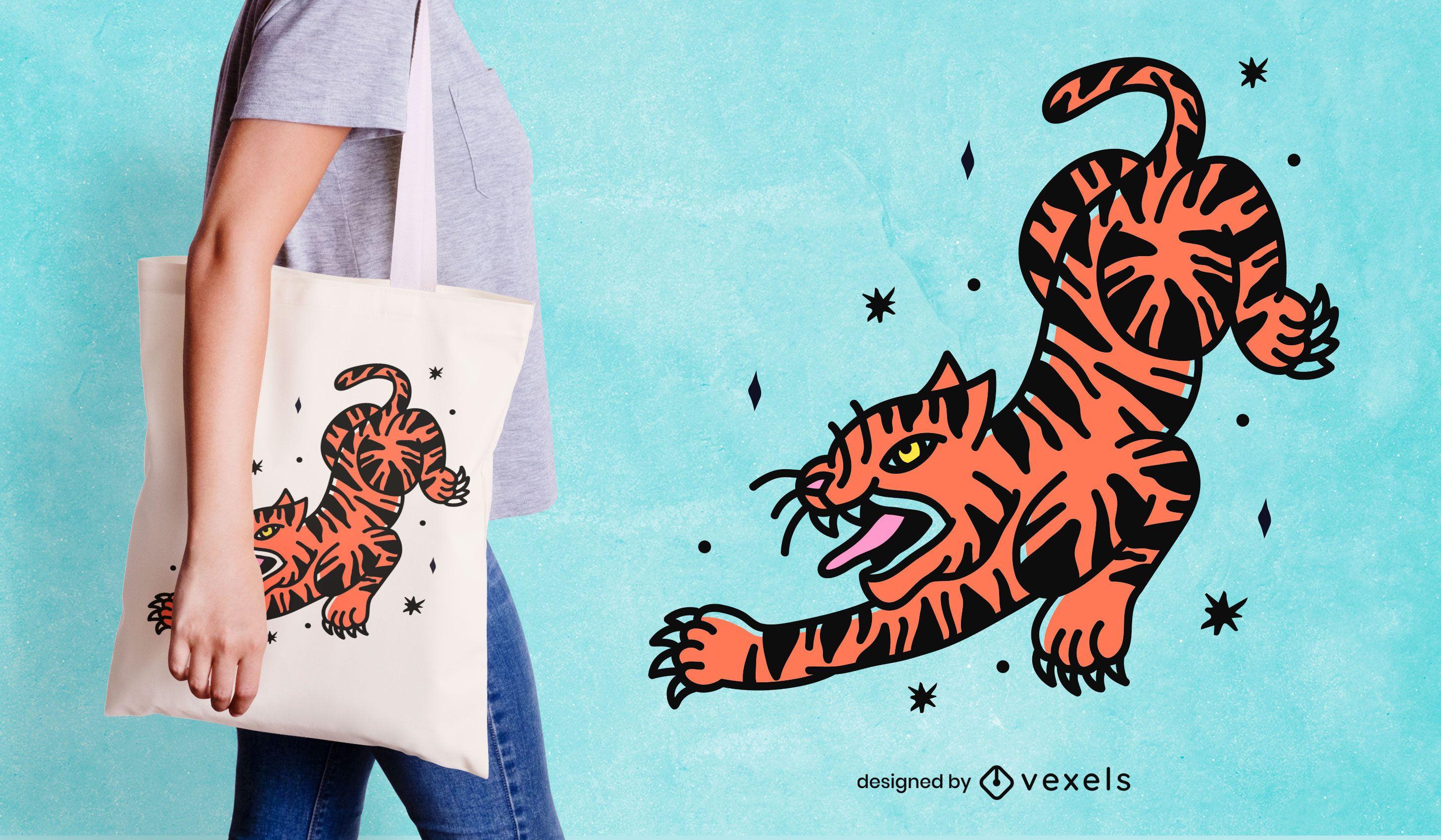 Tiger tattoo tote bag design