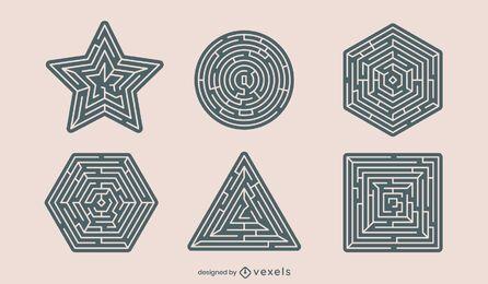 Conjunto de recortes de formas de labirinto