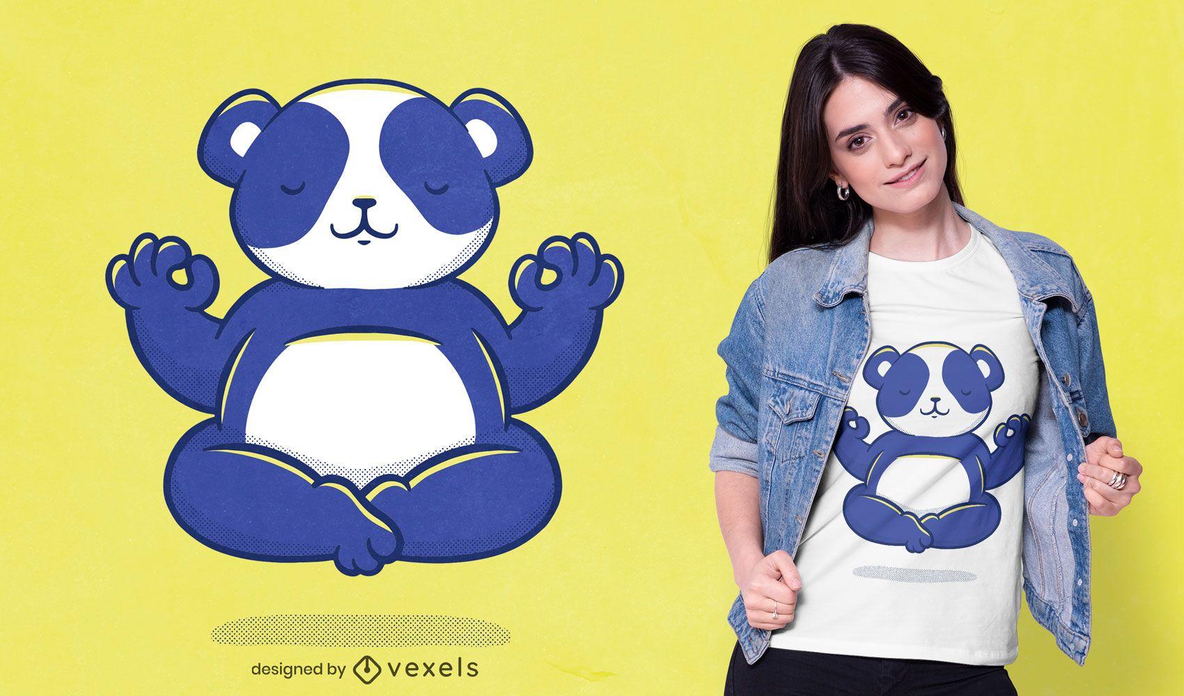 Diseño de camiseta yoga panda