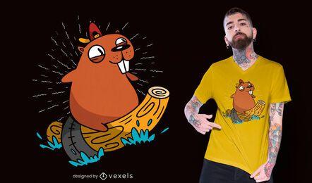 Design de t-shirt de castor de surf