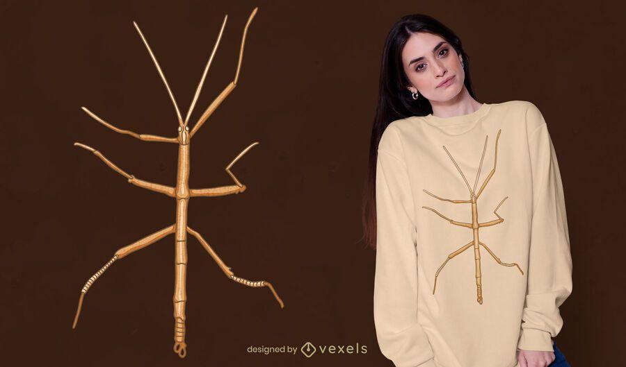 Diseño de camiseta de insecto insecto palo