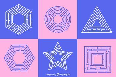 Conjunto de formas de labirinto pastel