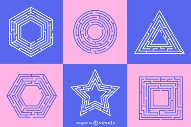 Pastel labyrinth shapes set