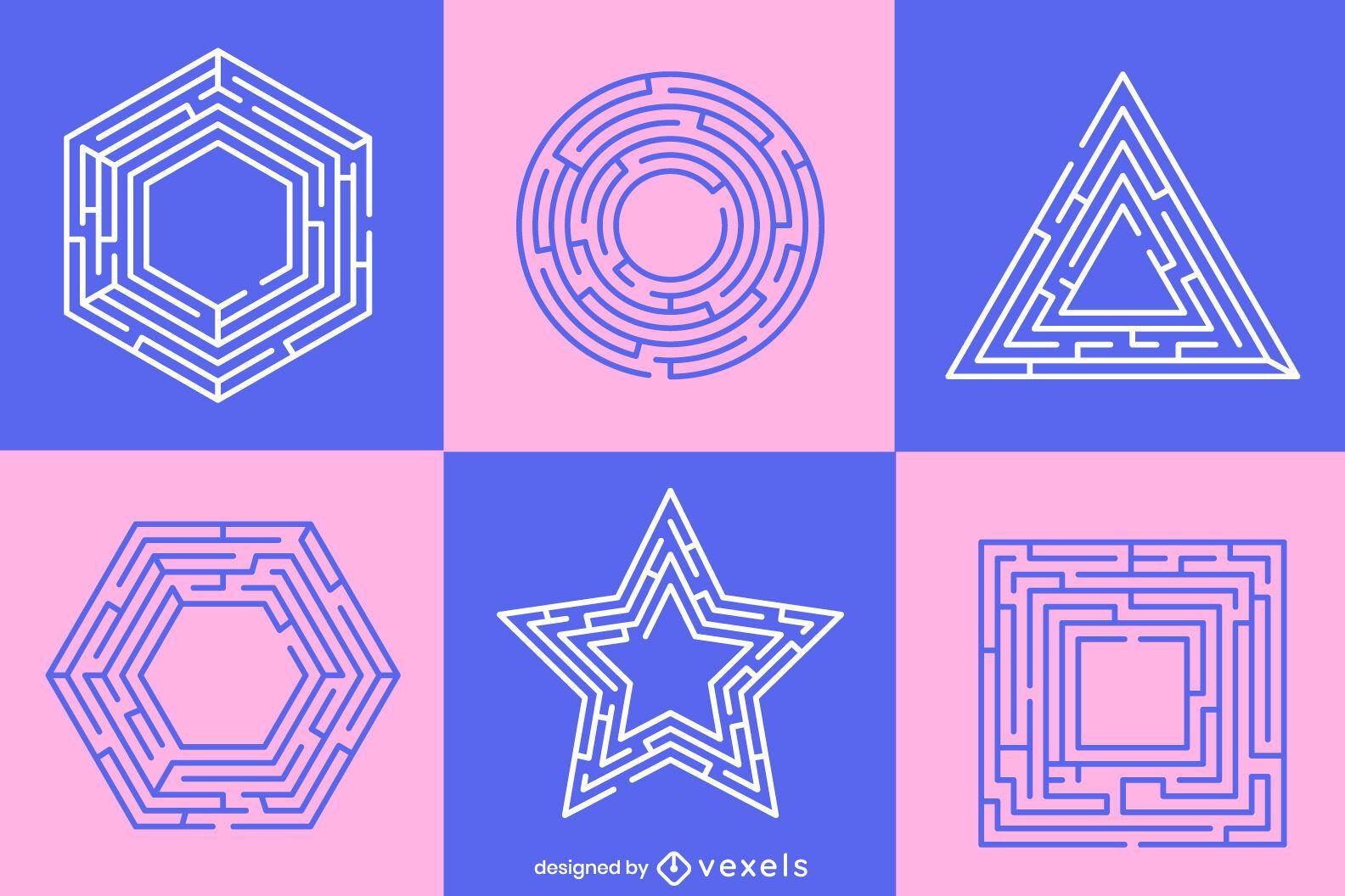 Pastel labyrinth shapes set