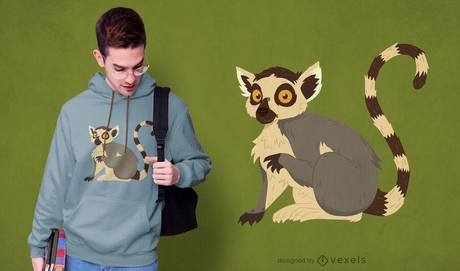 Diseño de camiseta animal lémur.