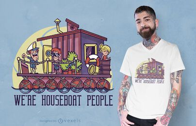 Diseño de camiseta de personas casa flotante.
