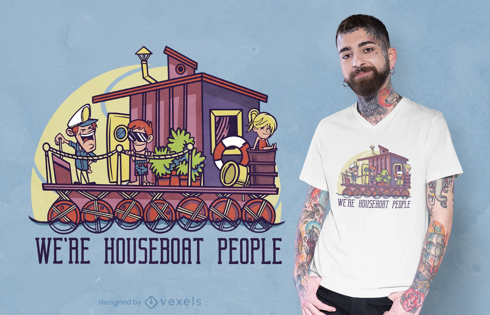 Dise?o de camiseta de personas casa flotante.