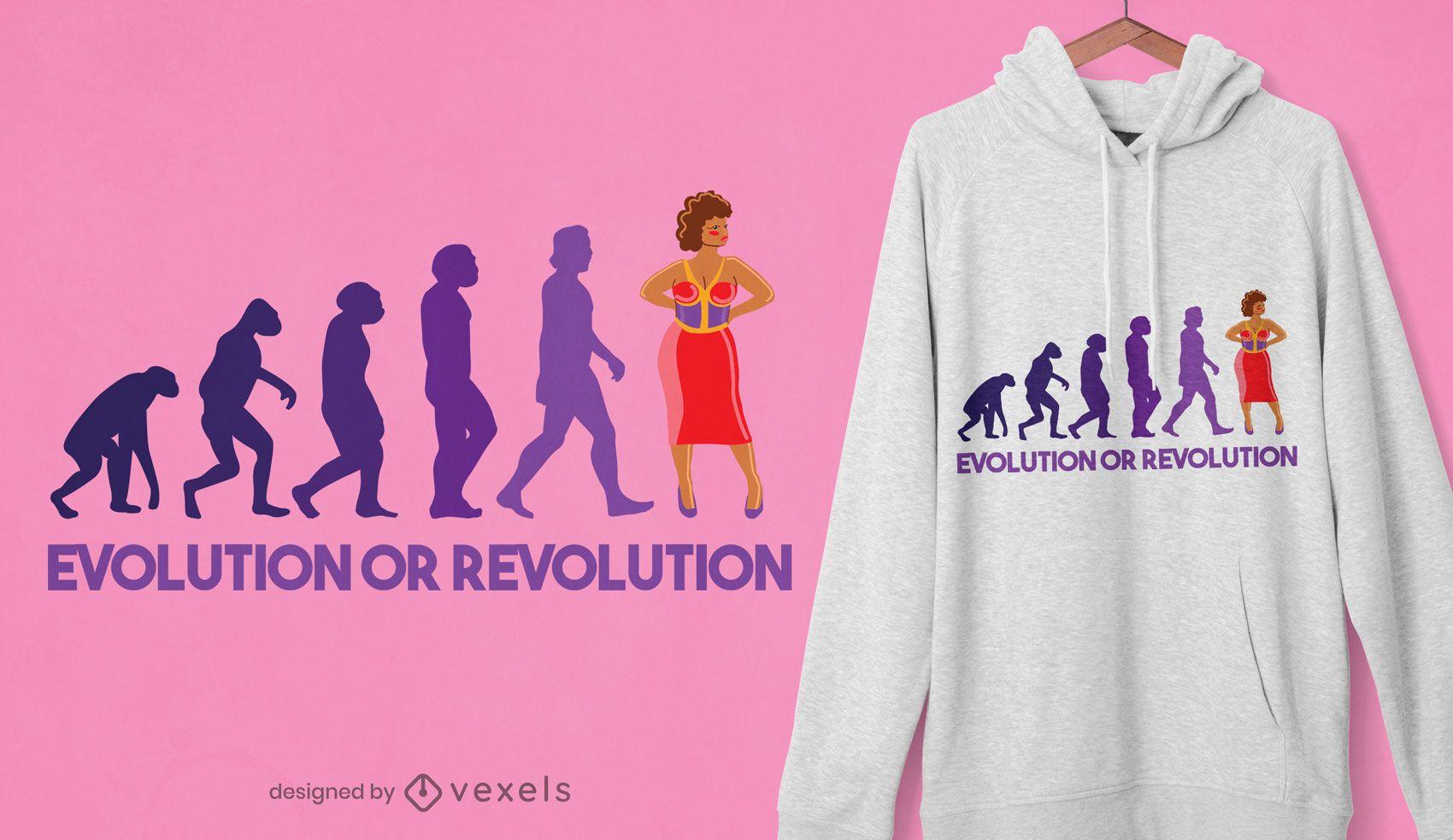 Diseño de camiseta de evolución o revolución.