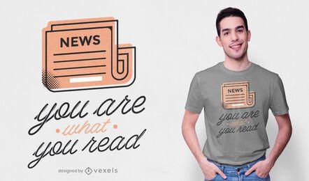 Diseño de camiseta de cita de periódico