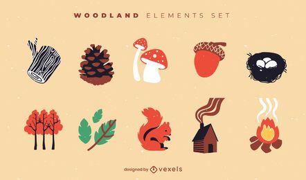 Conjunto plano de elementos de bosque