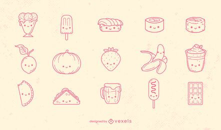Kawaii food types set