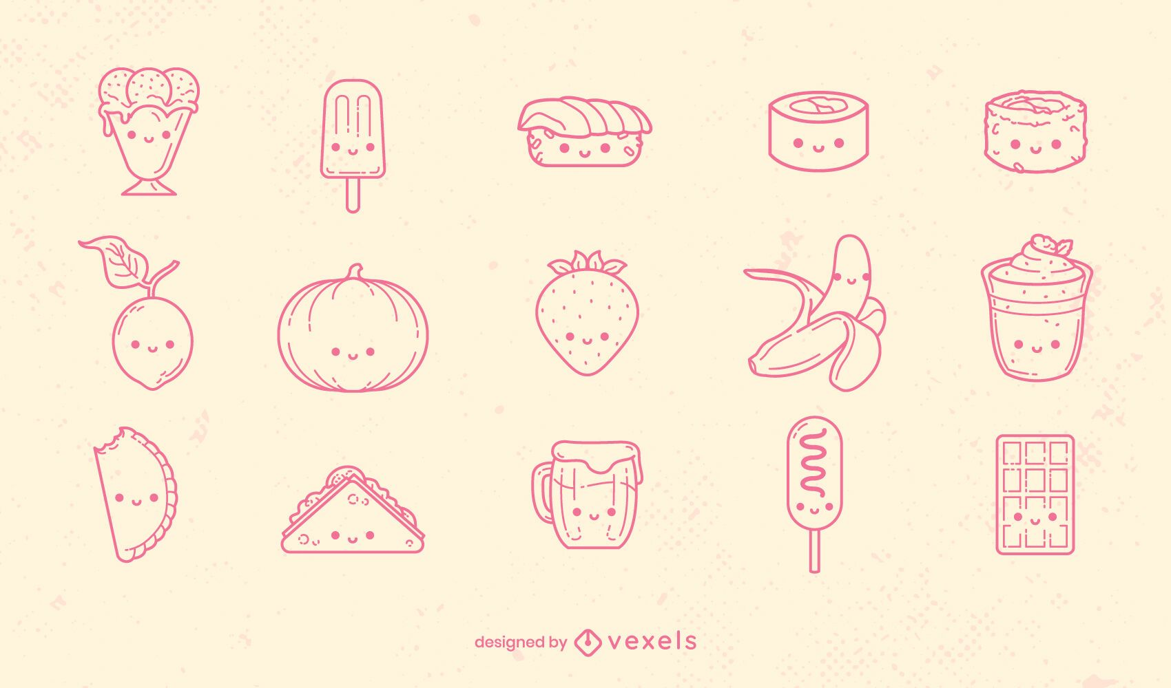 Conjunto de tipos de comida kawaii