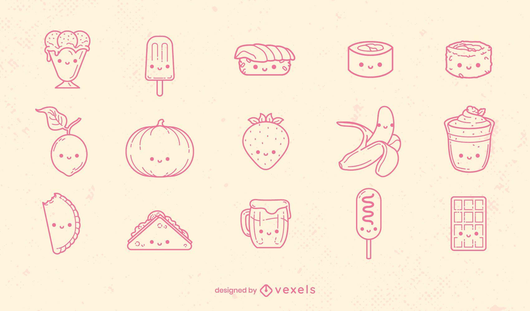 Kawaii food types set