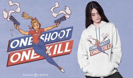 Diseño de camiseta one shoot girl