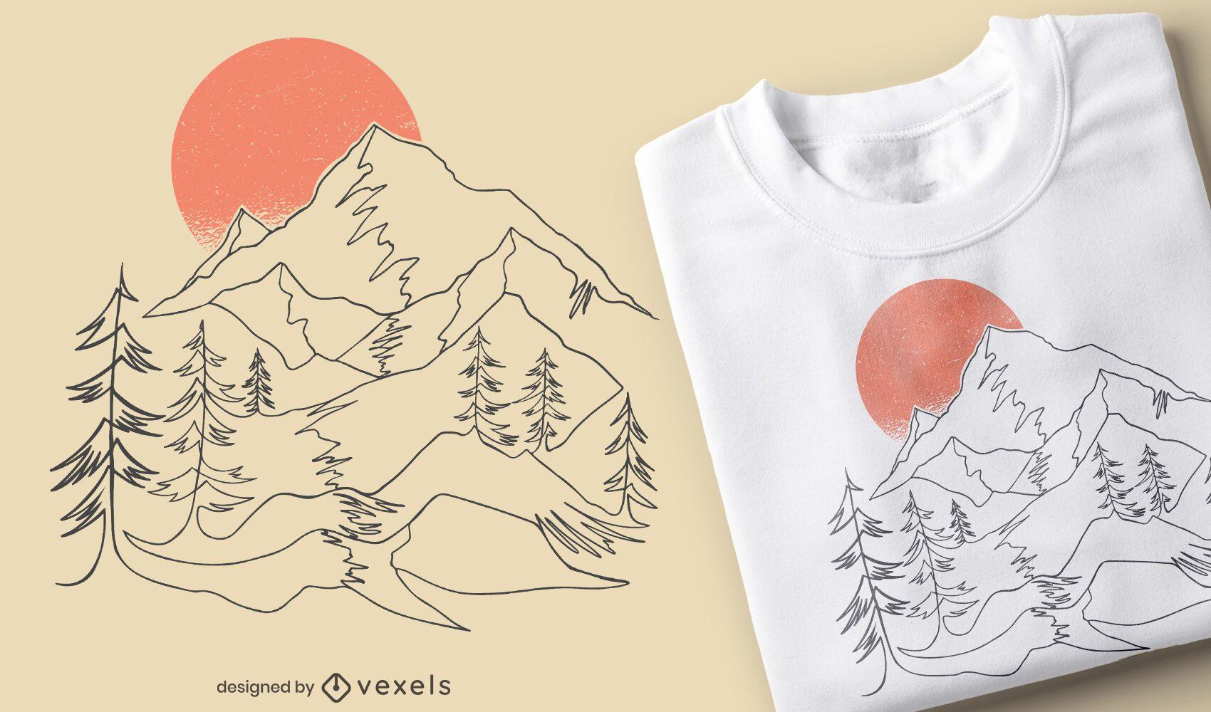 Diseño de camiseta de paisaje de línea continua.