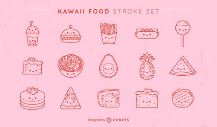 Kawaii foods set
