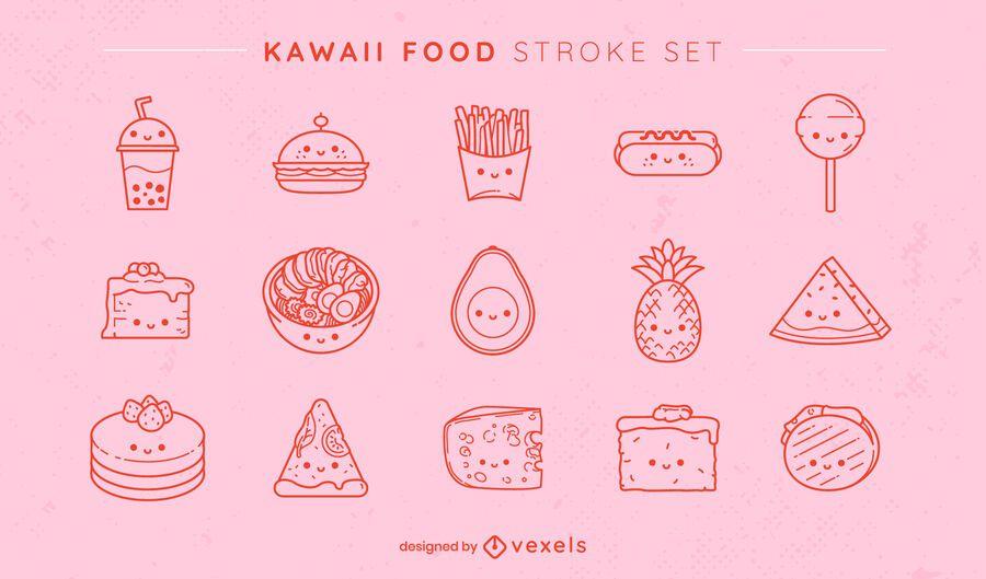 Kawaii foods set