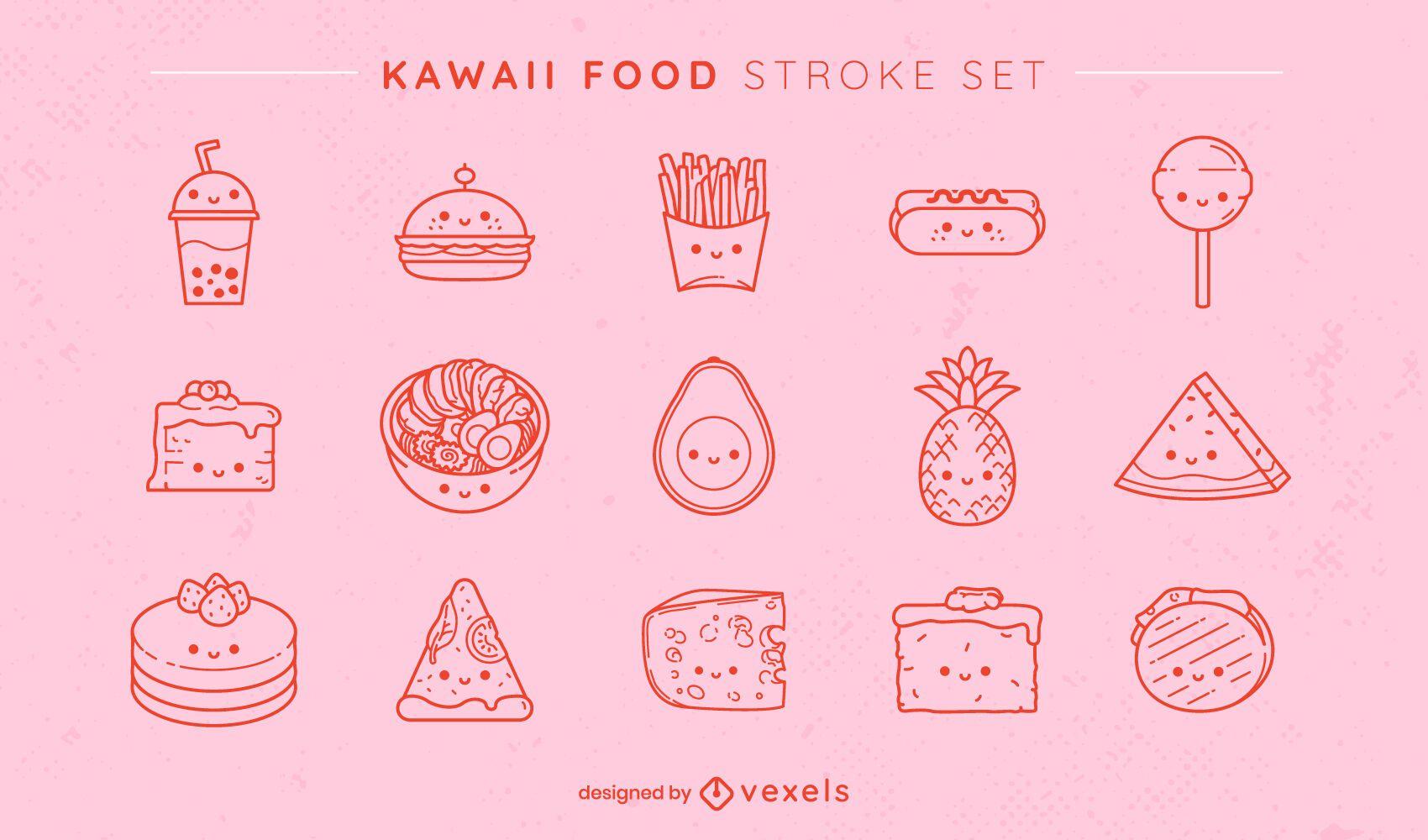 Conjunto de alimentos kawaii