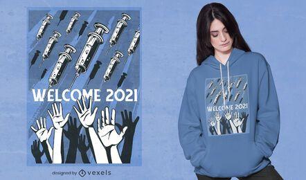 Design de t-shirt com vacinas de boas-vindas a 2021
