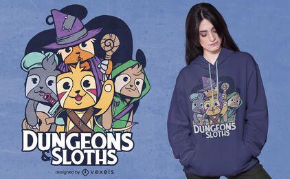 Design de camisetas para calabouços e preguiças