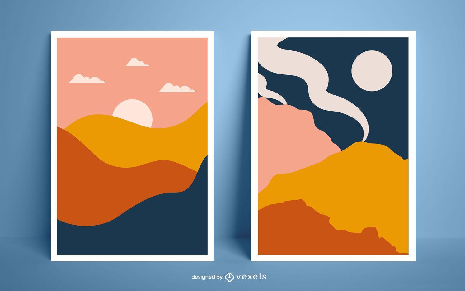 Diseño de cartel de paisajes abstractos
