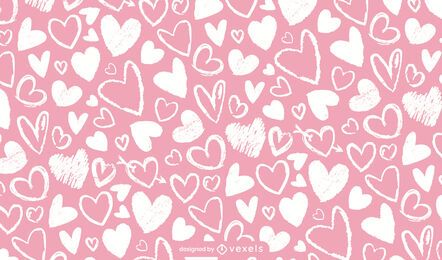 Chalk hearts pattern design