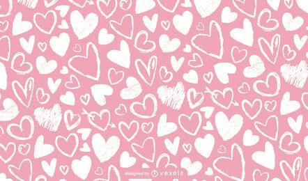 Diseño de patrón de corazones de tiza