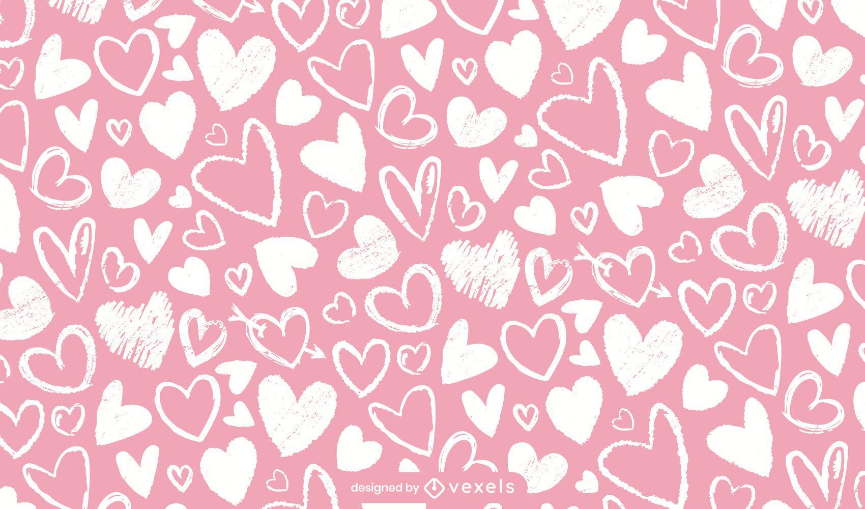 Desenho de padrão de corações de giz