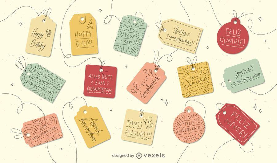 Conjunto de idiomas de etiquetas de regalo