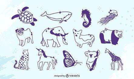Conjunto de animais com traços fofos