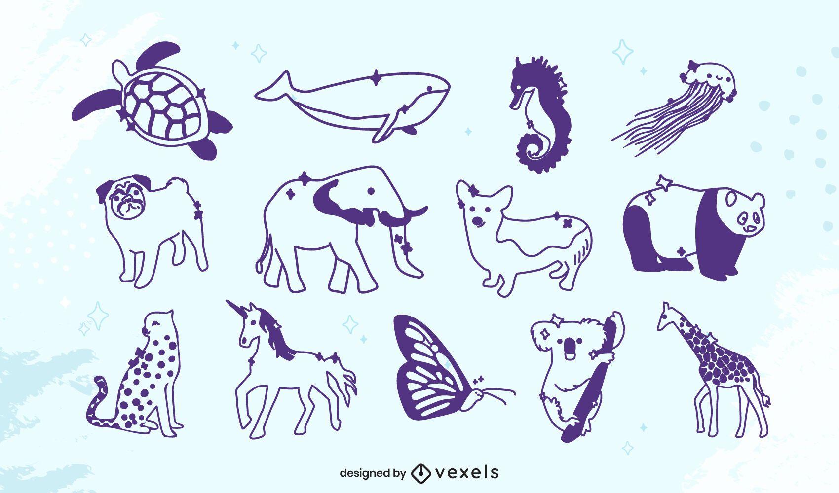 Lindo conjunto de animales de trazo relleno