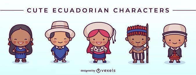 Conjunto de caracteres equatorianos fofos