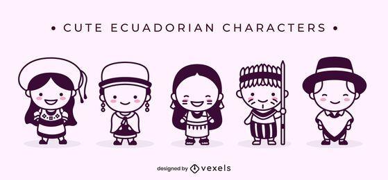 Cute ecuadorian filled stroke characters
