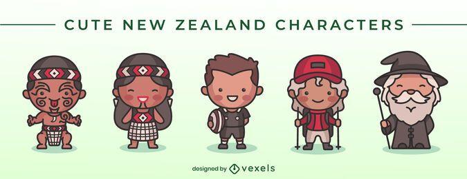 Lindo conjunto de caracteres da Nova Zelândia