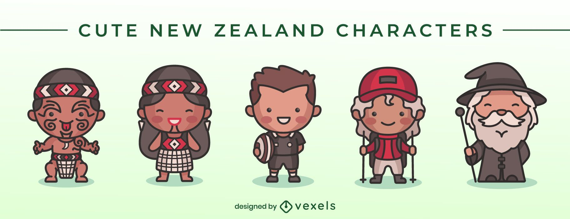 Cute new zealand character set