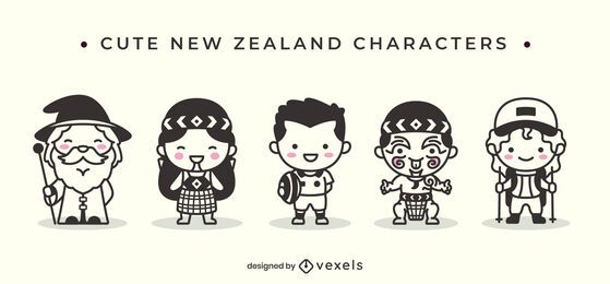 Personagens fofinhos com traços da Nova Zelândia