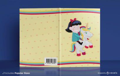 Diseño de portada de libro de niña montando unicornio