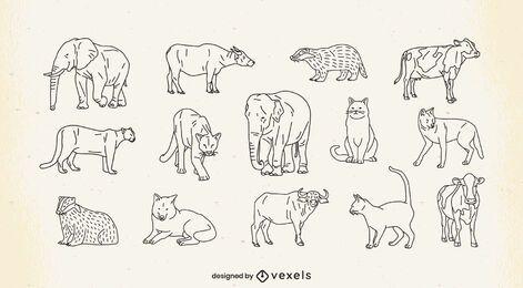 Animals thin line set